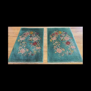 Matching Antique Pair Art Deco Chinese Oriental Area Rugs 2 x 3