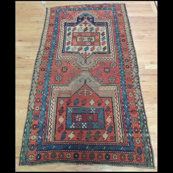Stunning small Antique Russian Caucasian Kazak Oriental Area Rug 3 x 5