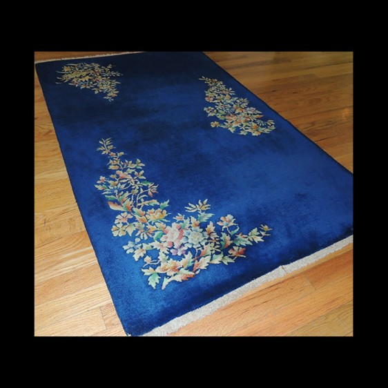 Dramatic small Antique Art Deco Chinese Oriental Area Rug 3 x 5