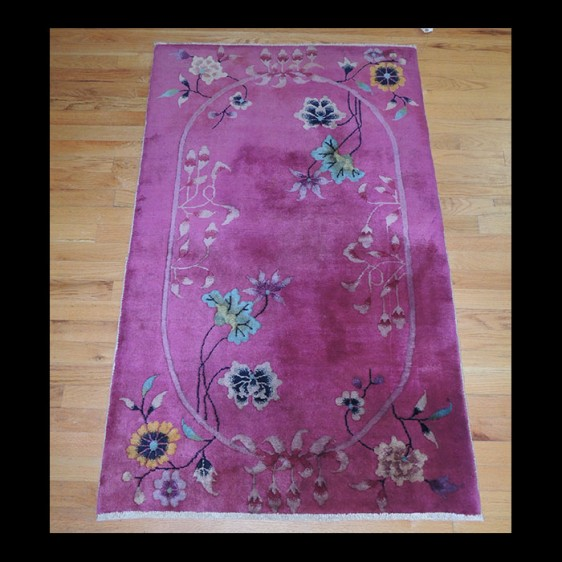 Dazzling small Antique Art Deco Chinese Oriental Area Rug 3 x 5