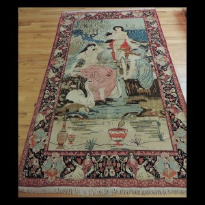 Extraordinary Antique Persian Kerman Oriental Pictorial Area Rug 4 x 6