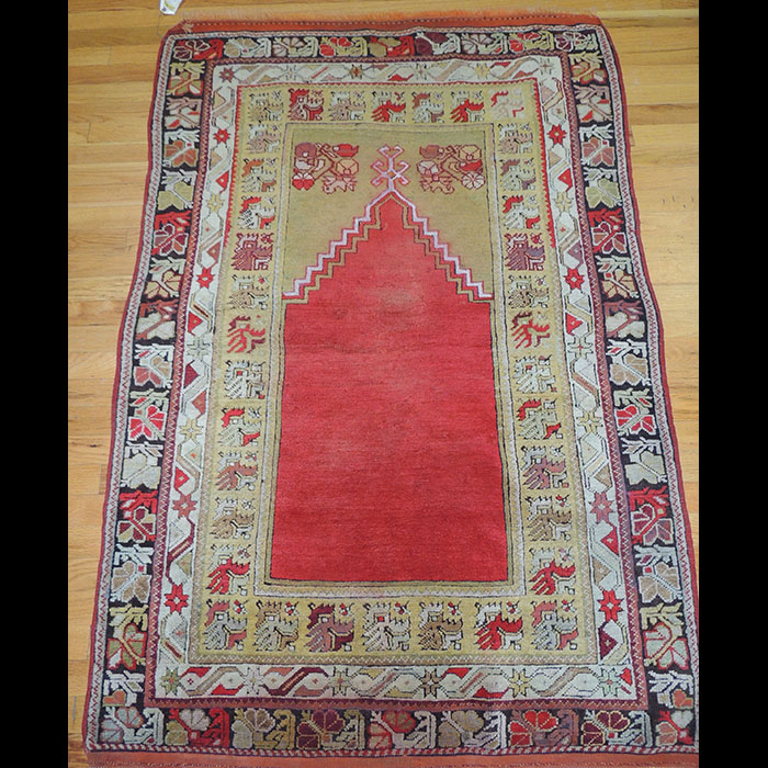 Prayer Rug Types: Gorgeous Antique Turkish Oriental Area Prayer Rug 4 X 6 JK