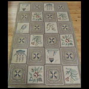 Beautiful Antique Portuguese hand-hooked Nautical design Area Rug 4 x 6