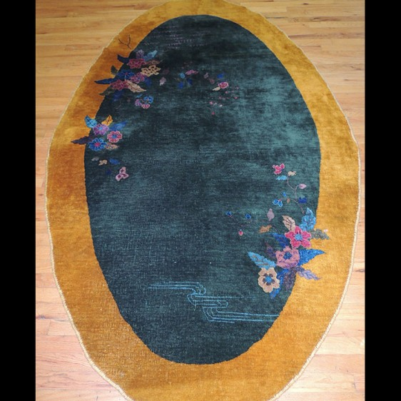 Striking RARE Antique oval Art Deco Chinese Oriental Area Rug 3 x 5