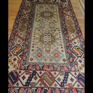 Dazzling semi-antique Tribal Indian Oriental Area Rug 4 x 6