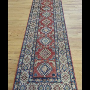 Striking Geometric Kazak Oriental Runner Rug 3 x 12