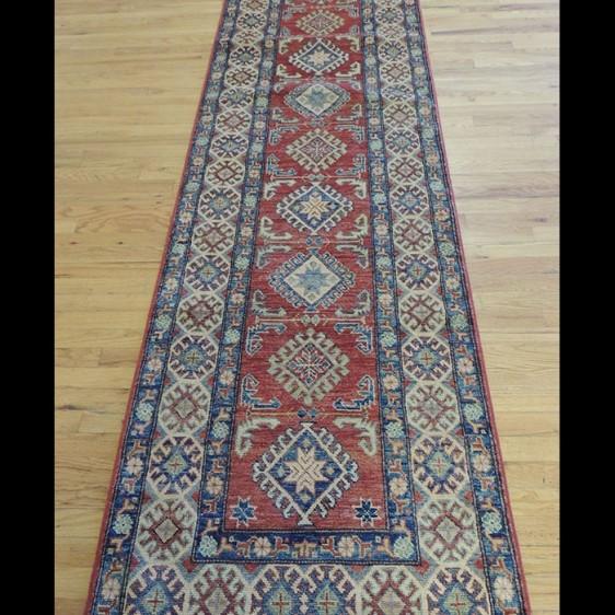 Striking Geometric Kazak Oriental Runner Rug 3 x 12