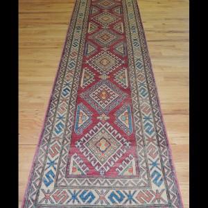 Stunning Geometric Kazak Oriental Runner Rug 3 x 11