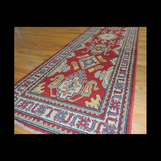Bold Geometric Kazak Oriental Runner Rug 3 x 9