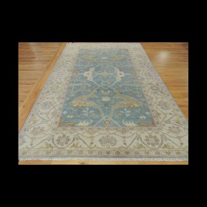 Gorgeous Antique-Wash Vegetable Dye Oushak Oriental Area Rug 6 x 9