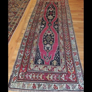 Lovely Antique Runner Russian Caucasian Kazak Design Rug 3 x 8