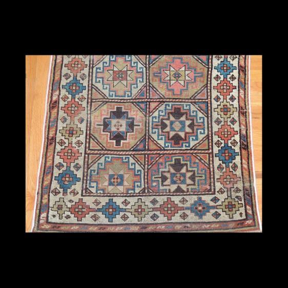 Stunning Antique Runner Russian Caucasian Kazak Rug 3 x 10