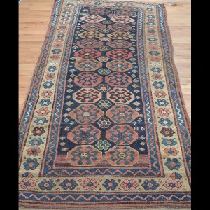 Gorgeous Antique Runner Russian Caucasian Kazak Rug 3 x 7