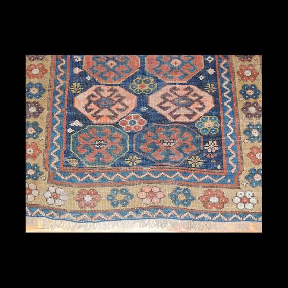 Gorgeous Antique Runner Russian Caucasian Kazak Rug 3 x 7