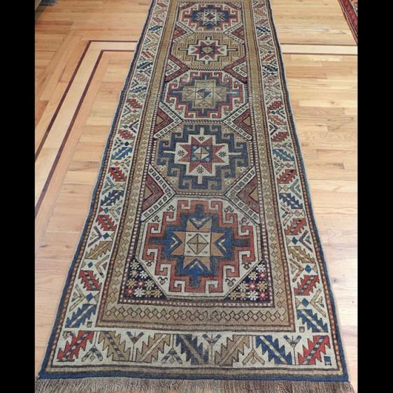 Brilliant Antique Runner Russian Caucasian Kazak Rug 3 x 8