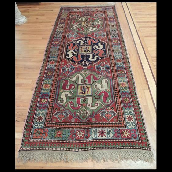 Uncommon Oversize Antique Caucasian Design Kazak Rug 4 x 9