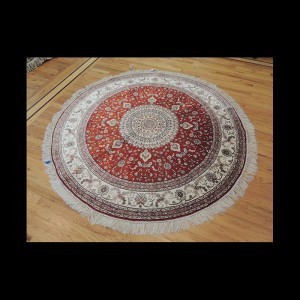 Outstanding Persian Kashan Silk Round Oriental Area Rug 6 x 6