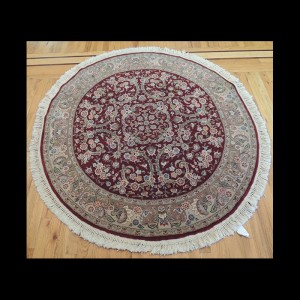 Gorgeous Persian Kashan Wool & Silk Round Oriental Area Rug 5 x 5