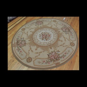 Lovely Round French Aubusson Style Needlepoint Oriental Area Rug 5 x 5