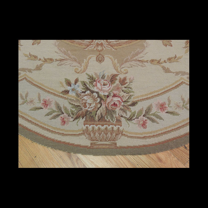 Lovely Round French Aubusson Style Needlepoint Oriental
