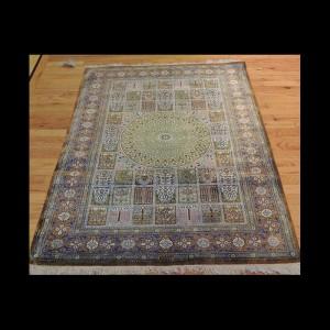 Very RARE Pattern Antique Signed Persian Qum Rug 3 x 5