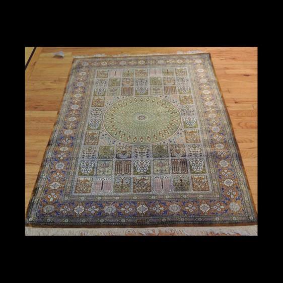 Very RARE Pattern Antique Signed Persian Qum Rug 3 x 5