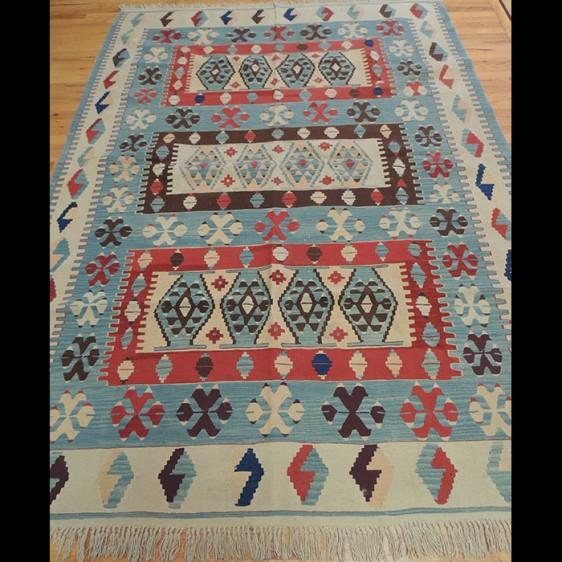 Colorful Kilim Reversible Wool Area Rug 6 x 9