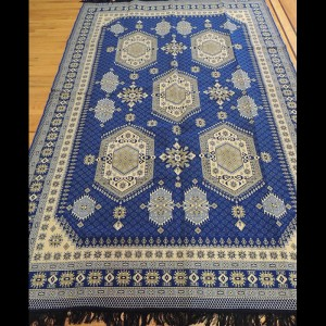 Colorful Blue Kilim Reversible Cotton Area Rug 6 x 9