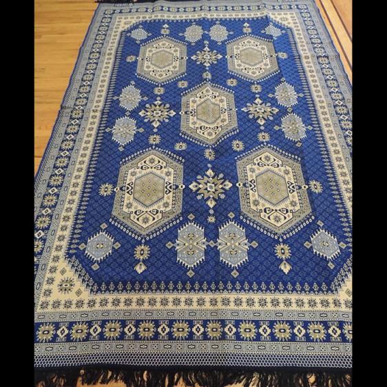 Colorful Blue Kilim Reversible Cotton Area Rug 6 x 9