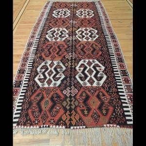 Colorful Turkish Kilim Reversible Wide Wool Rug 6 x 12