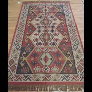 Colorful Kilim Reversible Wool Area Rug 5 x 7