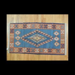 Colorful Turkish Kilim Reversible Wool Area Rug 2 x 4