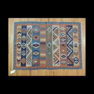Colorful Turkish Kilim Reversible Wool Area Rug 3 x 5