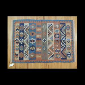 Colorful Turkish Kilim Reversible Wool Area Rug 3 x 5