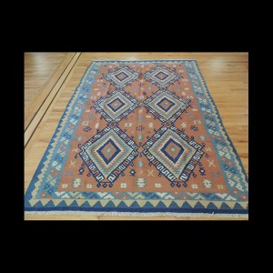 Colorful Persian Kilim Reversible Wool Area Rug 5 x 7