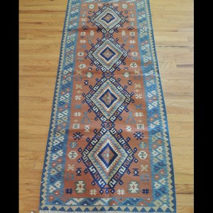 Colorful Turkish Kilim Reversible Wool Area Rug 3 x 6