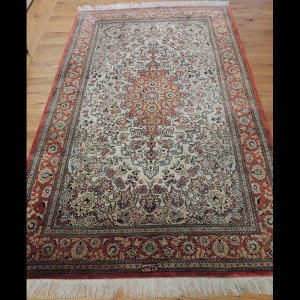 Superb Antique Signed Persian Qum Silk Rug 3 x 5