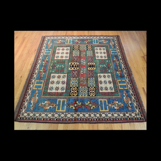 Striking and Bold Kazak Square Russian Design Oriental Area Rug 5 x 5