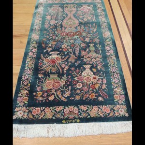 Magnificent Semi-Antique Signed Persian Qum Rug 3 x 5