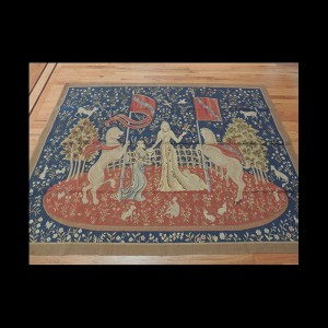 """A Wonderful French Tapestry inspired by the mythical """"Lady and Unicorn"""" 5 x 7"""