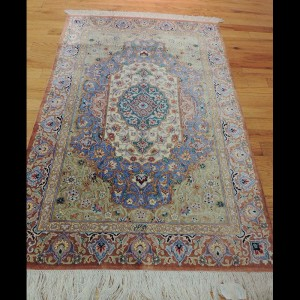 Splendid Semi-Antique Signed Persian Qum Rug 2 x 4