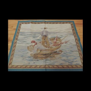 A modern rendition French design Tapestry Fishing Boat scene 3 x 5