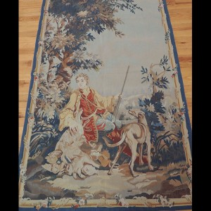 Brilliant French Tapestry Design of a Hunter with his dogs 4 x 6