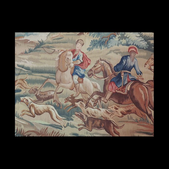 Action packed French design Tapestry of riders on horseback hunting 6 x 9