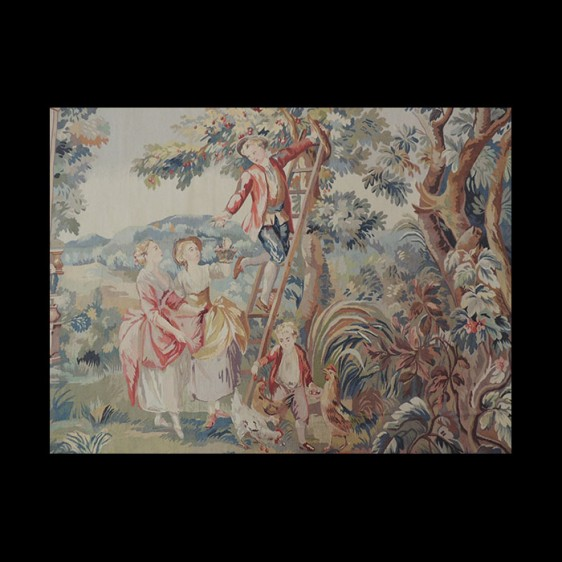 Lovely French design Tapestry of a family in the orchard picking apples 8 x 10