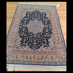 Outstanding Antique Persian Isfahan Rug wool & silk 3 x 5